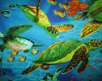 Sea Turtle Realistic Turtles Cotton Fabric Fat Quarter or Custom Listing