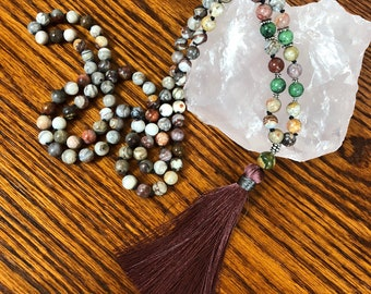 Courage and Strength Painted Jasper Mala