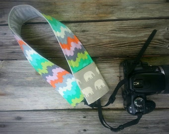 Padded DSLR camera strap cover, reversible padded camera strap cover, slip on strap cover in watercolor and elephants