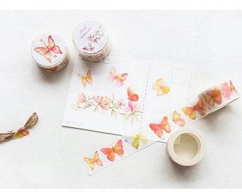 Butterfly Washi Tape - Watercolor Butterfly - Butterfly Stickers, 25mm x 8m