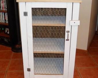 White Barn Wood Chicken Wire Cabinet