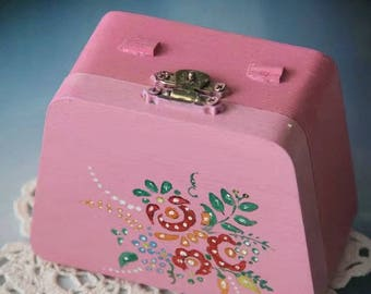 Wood Painted Flower Jewelry Box