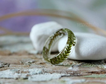 REAL FERN RING Faceted ring Pressed flower jewelry Botanical forest jewelry Folk accessories Terrarium Jewelry Gift under 25