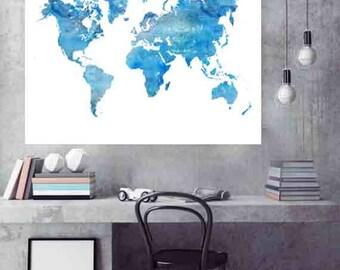 Map world map poster world map art world map print world map world map print blue world map world map art world map wall art gumiabroncs Image collections