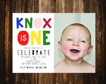 First Birthday Invitation with Photo; ONE;  Printable or set of 10