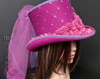 Burning Man Hat, Light-up Pink Mad Hatter Top Hat with detachable veil