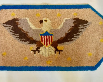 Mid Century Modern Vintage U.S. Eagle Embroidered Wool Wall Hanging Carpet