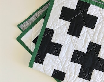 Plus Sign Black and White Modern Baby Crib Quilt