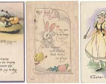 Three Used Easter Postcards - Bunnies Chicks 1919