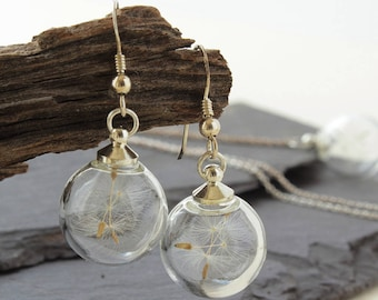 Mini Dandelion Sterling Silver Drop Earrings