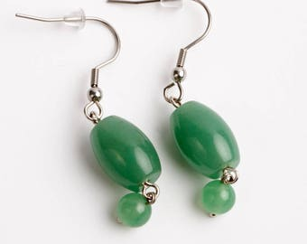Earrings aventurine green. Surgical steel