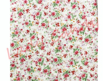 45x50cm pink floral fabric / Cotton / sewing Patchwork making garment #7319
