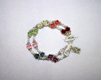 Double Chakra bracelet with Swarovski Crystals and Sterling Silver findings