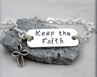 Faith Bracelet, Friendship Jewelry, Inspirational Quote Keep the Faith Bracelet, Sterling Silver, Religious, Handstamped, Friendship