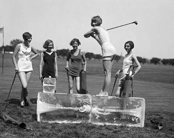 "1928 Bathing Beauties Golfing on Ice Vintage Photograph 8.5"" x 11"""