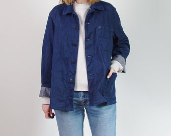 70s Blauzwirn dark blue denim workwear jacket