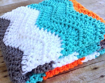 Crochet Baby Blanket - Baby Boy - Baby Girl - Knit Baby Afghan - Baby Blanket Crochet - Stroller - Crib - Aqua Orange Grey White