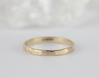 Hammered Gold Wedding Ring. Wedding Bands Women. Gold Stacking Rings. Skinny. 9ct Gold. Handmade Jewellery. Boho wedding ring. Dainty.