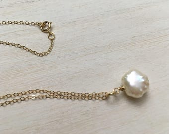 Cultured Pearl Chain Necklace, 14K Gold Filled, Cream Freshwater Baroque Pearl Pendant Layering Necklace, Bride, Bridesmaids Valentines Day