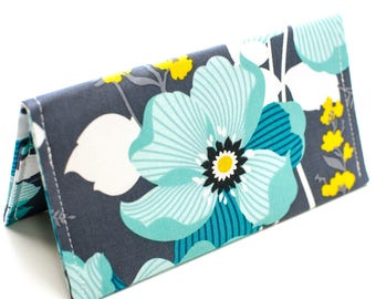 Floral Checkbook Case Fabric Checkbook Wallet Personalized Cover Monogrammed Gray and Aqua Floral