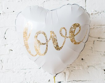 Love Glitter Balloon / Wedding Bridal Balloon / Wedding Engagement Photo Prop / Rustic Wedding / Vintage Wedding / White Wedding Balloon