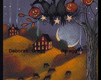 Fall Decorating    An aceo Crow Halloween PRINT by Deborah Gregg