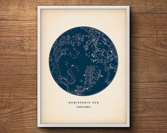 Constellations Print, Southern Hemisphere, Star Chart, Star Map, Star Print, Nautical Decor, Astronomy Poster, Celestial Wall Art