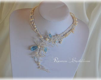 Collar wedding blue and white pearls and Swarovski crystals - wedding, bridal necklace, something blue jewelry