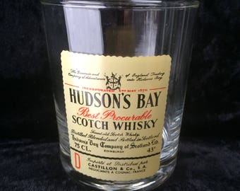 """Whisky Tumber, Scotch Whisky Advertising, Made in France, Immaculate Unused Condition, Ideal Gift, 3.5"""" x 3"""" Hudsons Bay Edinburgh Scotland"""