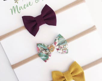 Burgundy, Floral, and Mustard Set of 3 Mini Bows / Small Bows / Hair Clips / Headbands /  Macie and Me