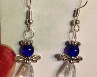 Glass Angel Earrings Cobalt Blue/Crystal/Silver