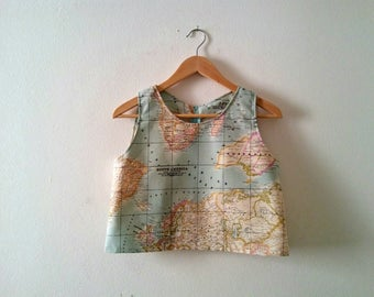 World Map Crop Top, Map Printed Cotton Top, Summer Sleeveless Crop Top, Vintage Inspired Atlas Printed Blouse, Map Crop Top, Made to Order