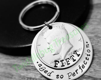 50th Birthday Key Chain - Hand Stamped