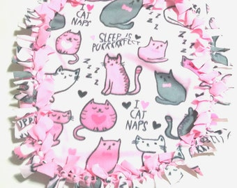 Fleece Cat Blanket Mat Bed Cat Pet Carrier Kennel  Pink Handmade Fringe Tied Pet Supplies Cat Gift Cat Lover