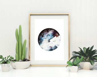 Hand-Finished Nebula Watercolour Print with Silver Leaf