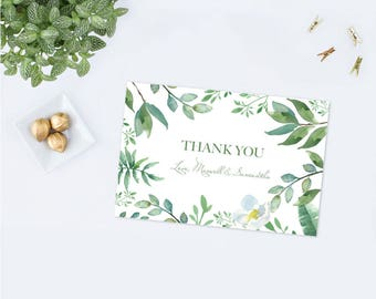 Printable Greenery Thank You Card, Instant Download Printable PDF, Green and Blue, Wedding Thank You, Blue Thank You's, Bridal Shower, Note