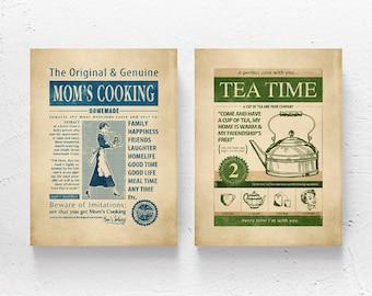 "Art print set / kitchen art, cooking, tea print, retro kitchen wall art / ""Mom's Cooking - Tea Time"""