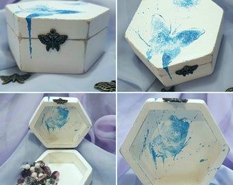Hand painted wood jewellery trinket treasure box butterfly design