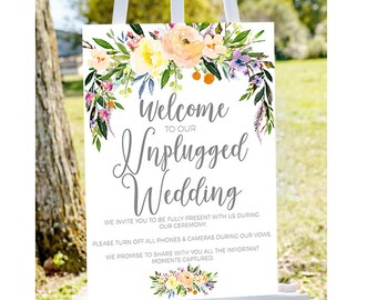 unplugged ceremony Unplugged wedding sign,unplugged sign, no phones sign printable unplugged sign, INSTANT DOWNLOAD, printable wedding sign