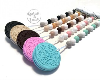 Pacifier Clip w/ Silicone Teething Oreo Cookie Biscuit Teether - Bite Beads Soother Clip  - Chew Toy - Choose Colours
