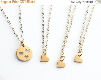 ON SALE Gold Necklace Set, Mother 3 Daughters, Set of 4 Necklaces, Heart Necklace Set, Gold Heart Cut out, Heart Necklaces, Mommy and Me Jew