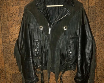 1980's Fringe Conchos Leather and Suede Motorcycle Jacket