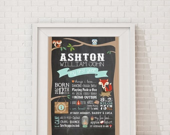 First Birthday Woodlands Chalkboard Poster  Billboard, Milestone Poster, Birthday Boy Woodlands Party, Fox & Fawn, Deer Customized Poster