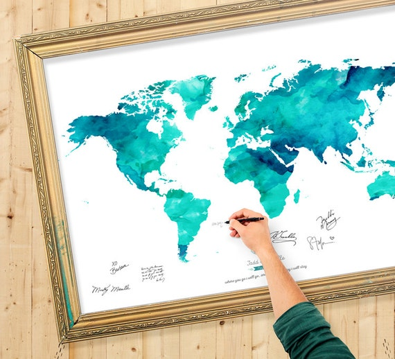 Wedding guest book watercolor world map custom color add gumiabroncs Image collections