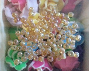 10 beads in opaque glass seed color, yellow, about 4 mm in diameter, hole: 1 mm