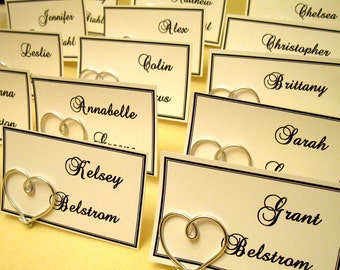 Heart Table Place Card Holders -  SET OF 14 - Wedding/Anniversary Escort Card Holder - Suspended Moments