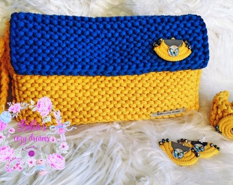 Knitted Clutch Bag/Fashion bag/Unique bag/Jewellery set/Knitted/Handmade