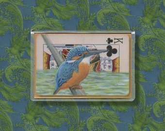 Kingfisher Fridge magnet - Print of an altered playing card, to display on your refrigerator. Proceeds to Charity,