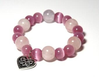 Pink Beaded Bracelet, Celtic Heart Bracelet, Celtic Heart Charm Bracelet, Celtic Jewelry, Rose Quartz Bracelet, Strech Bracelet
