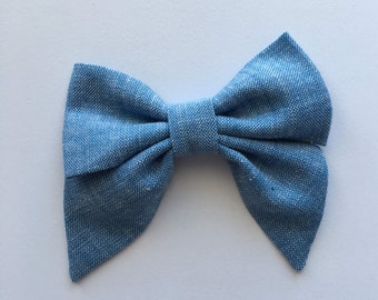 Simply Chambray Lexie Fabric Hair Bow